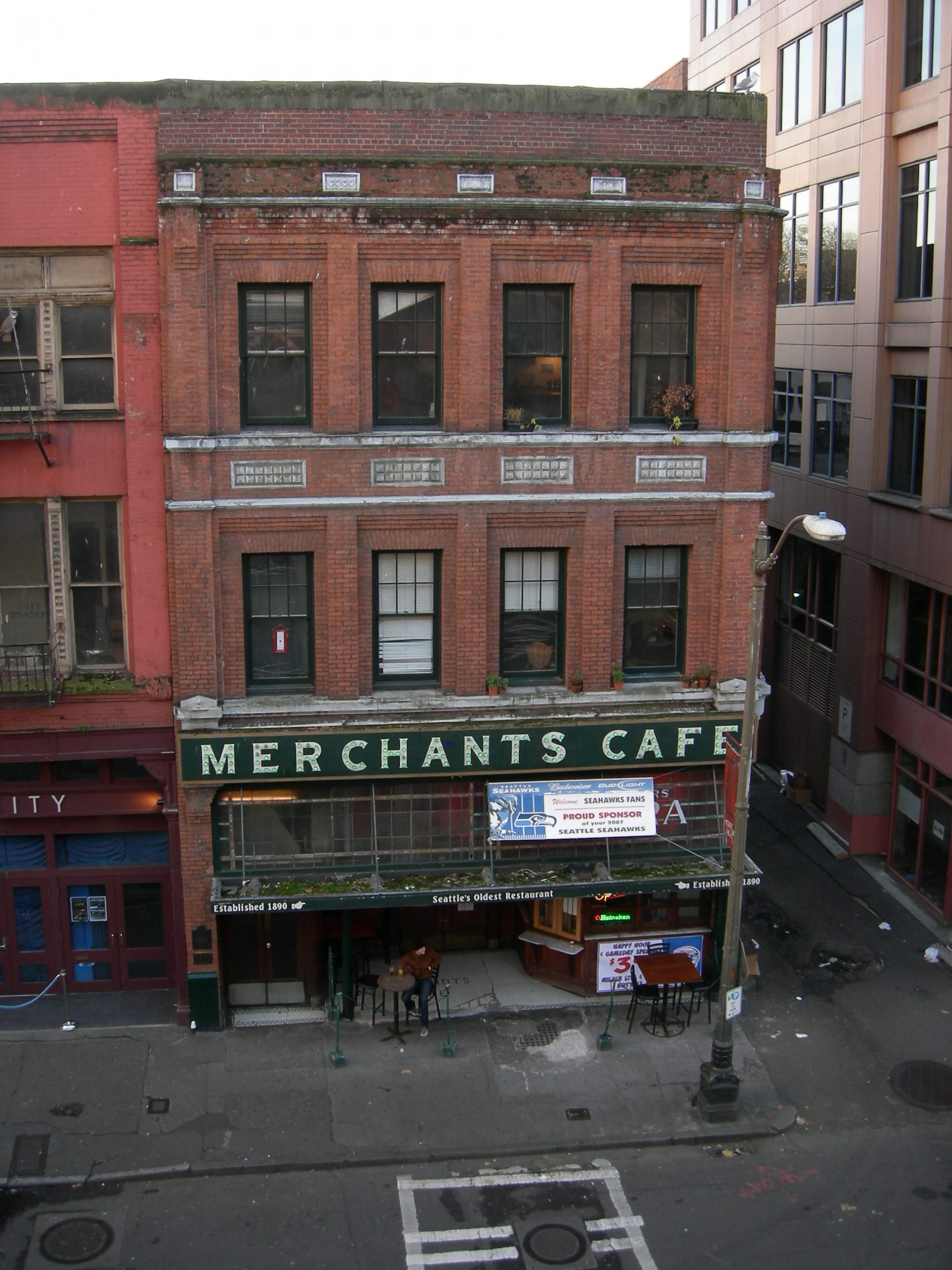The facade of the Merchants cafe from the air